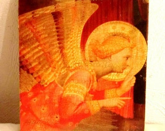 Angel Gabriel - Renaissance - icon Annunciation of Cortona Fra Angelico 1432 - Reproduction on wood