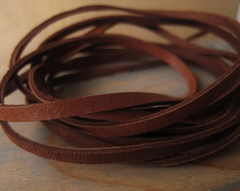 Natural Deerskin Lace Leather Cord 3mm Flat Lace Cord Tan Leather Necklace Item No. 8231
