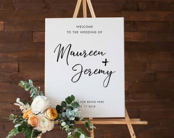 Custom Wedding Art, Printable Outdoor Wedding Sign, Minimalist wedding, Modern White wedding, Printable wedding design, Custom names