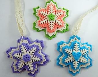 Polymer Clay Snowflake Ornaments. Christmas Ornaments. Snowflake Ornaments. Holiday Ornaments. Ornament Set.