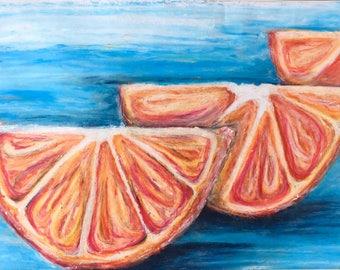 Oranges Oil Pastel Drawing