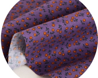 Small Flowers Printed Cotton By the yard (width 44 inches)  65569 Purple