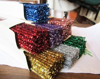 REDUCED PRICE /// Chenille Stems, Tinsel, Metallic, about 6 mm, 12 inch, 100-count box, vintage, vibrant colors