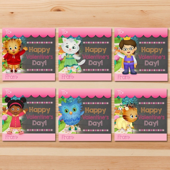 Wonderful Items Similar To Daniel Tiger Valentineu0027s Day Cards   Pink Chalkboard    Girl Daniel Tiger Valentines   Daniel Tiger School Valentineu0027s Day Cards On  Etsy