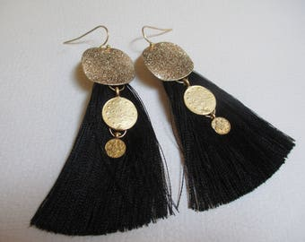 Statement Tassel Pierced Earrings Black Gold Coins Bohemian