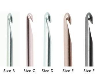 B, C, D, E or F Susan Bates Silvalume Crochet Hook. PICK A SIZE. Lightweight Aluminum Crochet Hooks. Size B, Size C, Size D, Size E, Size F