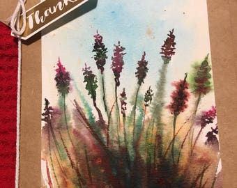 Handpainted Watercolor Thank You Card // #Flowers // #Floral // #Note Card // #Birthday Card.
