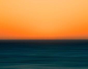 Abstract Beach Photography, Fine Art Print, Nature Landscape Photograph, Sunset Orange Blue Peach, Minimalist Art, Coastal Decor, Modernist