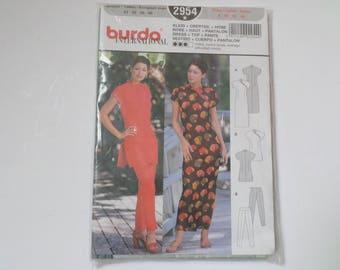 Vintage Burda International Pattern 2954, Japanese Dress Top Pants Pattern, Oriental Inspired, Sizes 8-14, European Size 34-40, Sewing