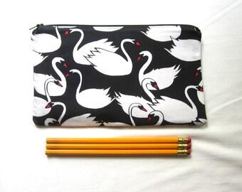Swans Fabric Zipper Pouch / Pencil Case / Make Up Bag / Gadget Pouch