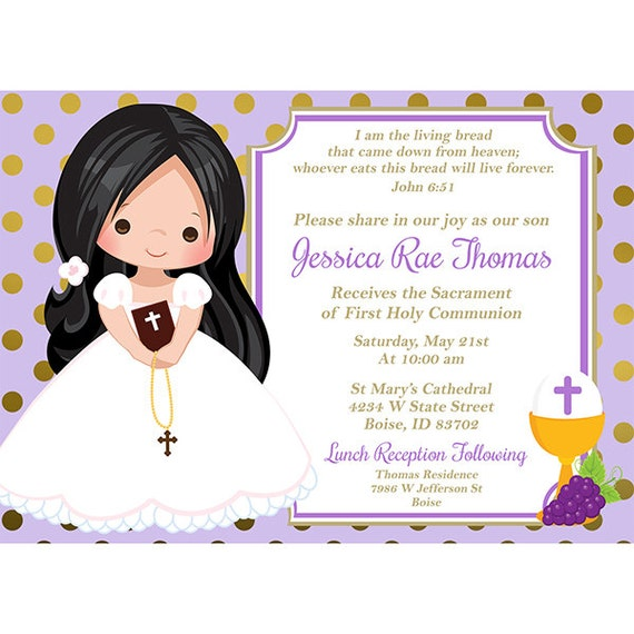 Holy Communion Invitations Purple First Communion