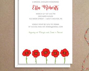 Bridal Shower Invitations - Poppy Shower Invitations - Poppy Party Invitations - Wedding Shower Invitations - Custom Invitations