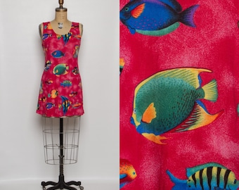 vintage 90s tropical fish print mini dress | summer beach cover up dress
