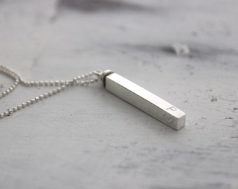 4-sided bar name necklace sterling silver - 3D Personalized silver necklace - swivel bar necklace - mothers jewelry - with heart charm