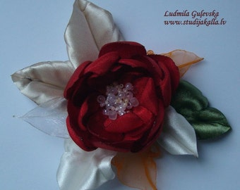 Handmade red satin flower brooch, flower clip & pin, embroidered flower