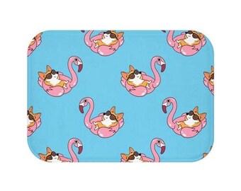 Corgi Flamingo Pool Float Dog Bath Mat, Dog Door Mat, Floor Mats, Bathroom Decor, Dog Home Decor, Housewarming Gift, Corgi Gifts