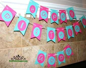 Happy Birthday Flag Banner Hot Pink & Turquoise CUSTOM