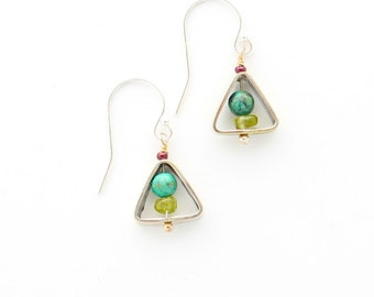 African Turquoise and Peridot Earrings in Sterling Silver Open Triangles, Funky Dangle Earrings, Modernist Earrings, Peridot and Silver