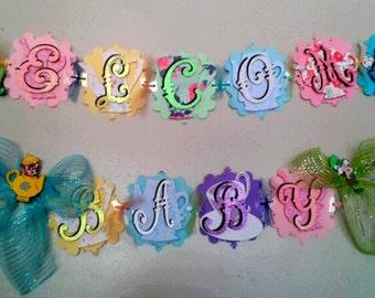 Alice in Wonderland Babyshower Banner Welcome Baby Banner Mad Hatter White Rabbit Tea Party Babyshower