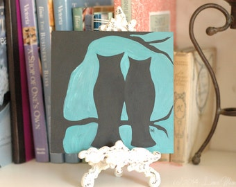 Original Acrylic Painting - Tree for Two No.2 - Owls, Birds, Silhouette, Couple - Black Aqua Teal