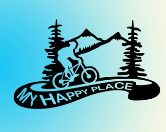 mountain biking vinyl decal sticker - My Happy Place- Biking Decal for car, laptop, macbook, wall, etc.