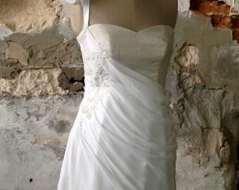 Machere couture - White lace short silk dress