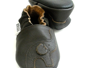 soft sole baby shoes infant handmade elephant dark brown 6 12 Lederpuschen chaussons chaussurese garcon fille bebes ebooba EL-37-DB-T-2