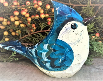 Hand Carved Windowsill Bird (BlueJay)