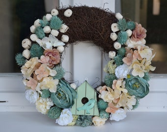 Spring wreath. Summer wreath. Pastel colors wreath. Handmade gift made with love.