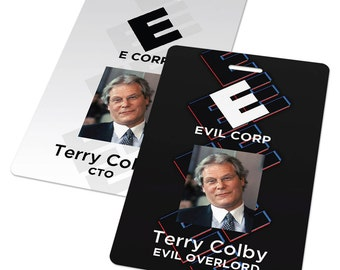 Custom ID Card Badge: Mr Robot Evil Corp / E Corp, AllSafe, Sci-fi Cosplay Costume Gift, Alderson, Moss