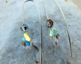 Cristal Swarovski boucles d'oreilles en argent Sterling moderne tendance