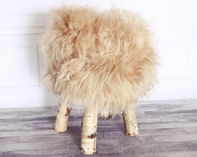 Wood Stool | Champagne Fur Stool | Sheepskin pouf | Icelandic Sheepskin stool | Vanity Stool | Birch tree stool | Champagne stool