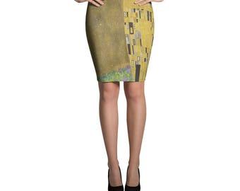 The Kiss, Gustav Klimt - Pencil Skirt