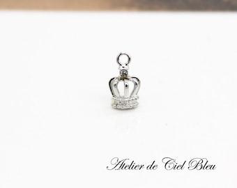 Tiny Crown Charm, Silver Crown Charm, Tiara Charm, Tiny Crown Necklace, Tiara Necklace, Crown Pendant, Tiara Pendant
