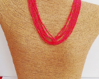 Red necklace, iridescent coral,seed bead necklace, dark coral necklace, seed bead coral,  hot pink necklace, orange and red