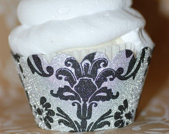 Black & Silver Glitter Damask Cupcake Wrappers - Set of 24 - Standard or Mini