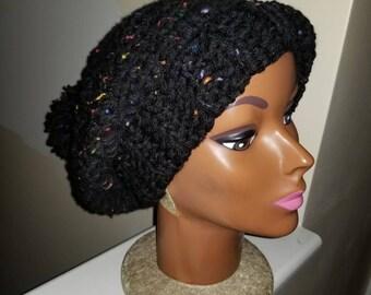 Handmade Chunky Ribbed Slouch Hat - Tweed Rib Slouch hat - Unisex Crochet hats - Chunky Crochet hats