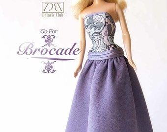 """Sewing pattern for 11 1/2"""" doll (Barbie): Brocade Gown"""