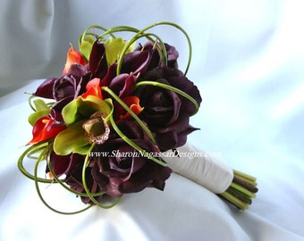 Purple/plum/eggplant, green, orange, bouquet, Real Touch flowers, rose/roses, orchids, calla lily/lilies, Bride, Groom, silk, wedding, set