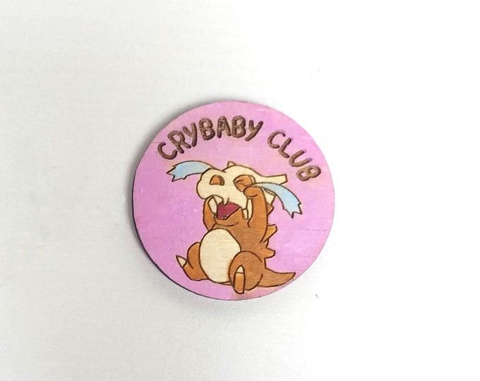 Cubone Crybaby Club Pin | Laser Cut Jewelry | Handmade Pin | Wood Pin