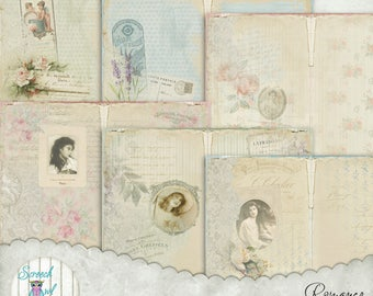 "Printable Journal Kit, DIY Junk Journal Kit, Journal Pages 5"" X 7"", Shabby Chic, Journal Cards, Ephemera, Paper Craft Supplies - 'Romance'"
