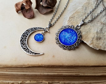2 Moon and Sun Necklaces | friendship necklaces | best friends jewelry | sistersnecklaces | sun moon jewelry | best friend gift | Mermaid