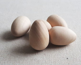 5 pcs Small Wooden Eggs, Craft Eggs, DIY Wooden Eggs, Unfinished Wooden Eggs, Easter Decorations, Easter Ornaments