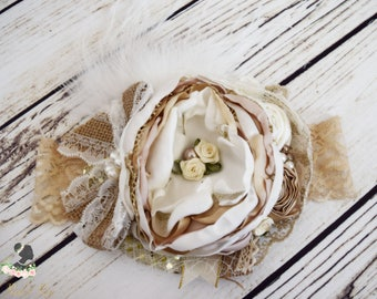 Handcrafted Burlap Ivory and Gold Over the Top Bow Headband - Fancy Christmas Headband - Country Wedding Headpiece - Flower Girl Headbands