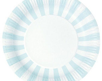 Paper Plates | Party Plates | Blue Paper Plates | Pale Blue And White Stripe Party Plates | Blue Party Plates | Stripe Party Plates Sc 1 St Etsy  sc 1 st  pezcame.com & Blue Party Tableware \u0026 A Bunch Of Blue Party Balloons Isolated Over ...