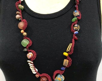 African Beads Crocheted Necklace