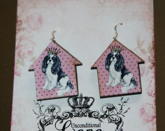 Cavalier King Charles Spaniel Earrings/Laser Cut/Handmade Tag