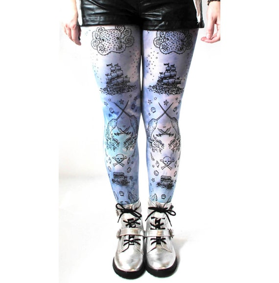 f31f03a4f68 ... Narwhal Pirates  Tie Dye Tights Narwhal Pirate Print All Sizes Small