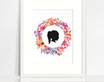 """Silhouette with Floral Wreath - Summer Watercolours - 8x10"""" Custom Silhouette - Print Yourself (Digital File)"""