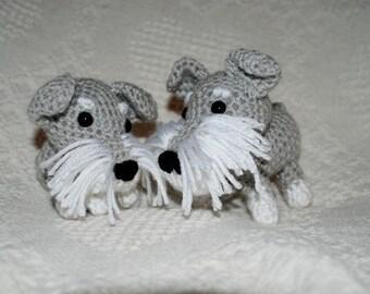 Cute Little Crocheted Schnauzer Amigurumi Dog Crochet Dog